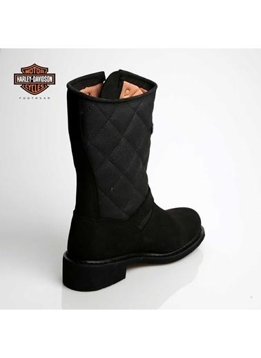 Kalın Topuklu %100 Deri Çizme-Harley Davidson